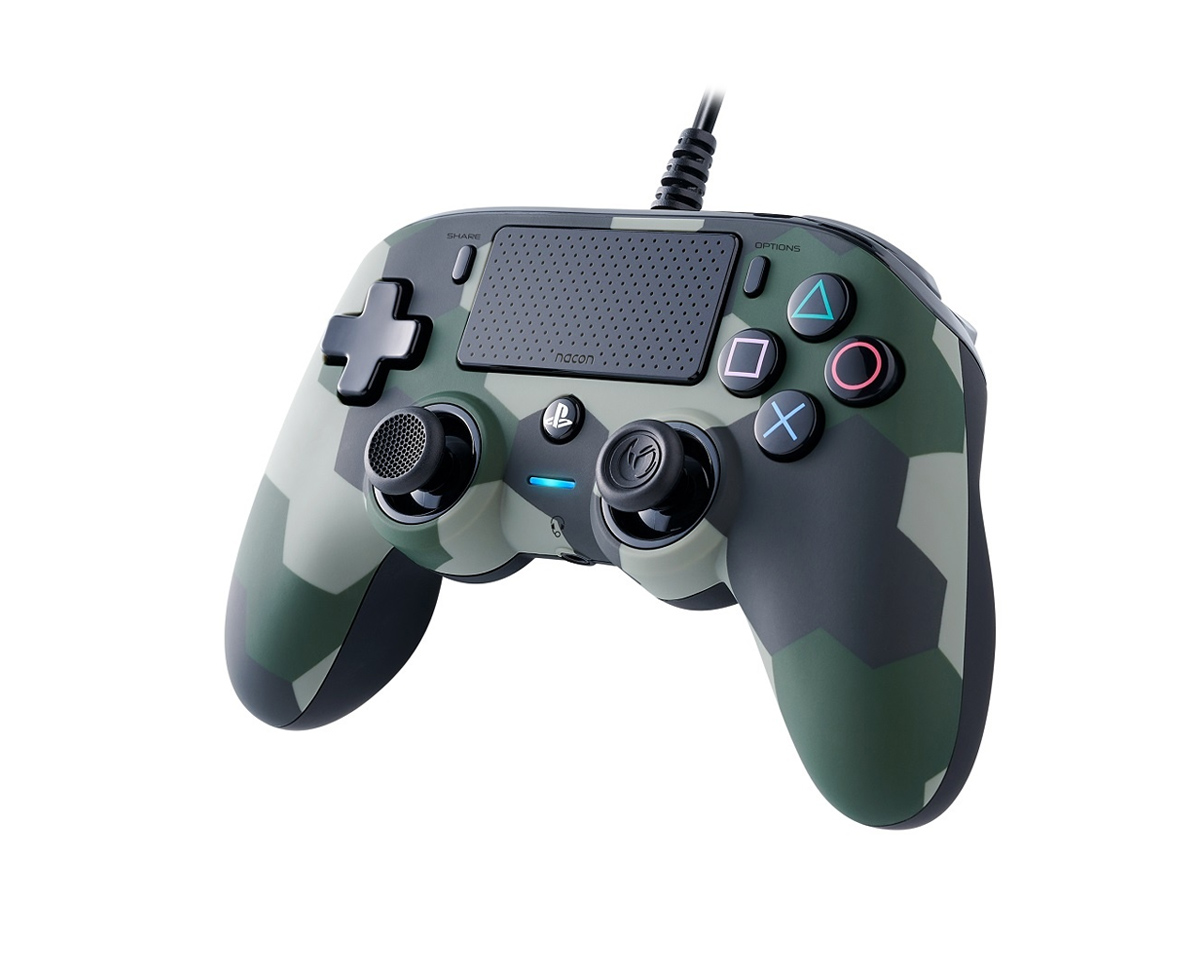 Wired Compact Controller Cammo Grøn (PS4/PC) i gruppen Computertilbehør / Spilkontroller / Gamepads hos MaxGaming (1001036)